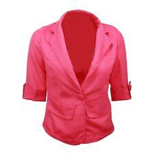 Summer Jacket Slimming Womens Unbranded Stylish Ladies Crop Blazer Sz 12 Hot Pink 6