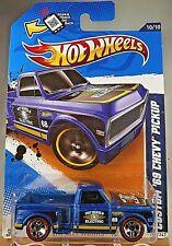 2012 Hot Wheels Walmart #140 HW CityWorks CUSTOM '69 CHEVY PICKUP Blue w/REDLINE