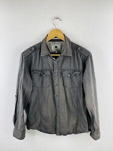 Jonathon Adams Men's Long Sleeve Shirt Size S Grey Military Collared Pockets