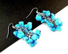 1 Natural Cluster Pair of Blue Howlite Gemstone Dangle Fashion Earrings - # B312