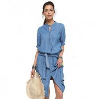 lässiges Jeans Blau Kleid Freizeit Sommer Strand 3/4 Ärmel asymmetrisch BC688