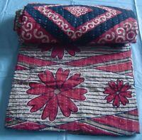 Old cotton saris textile patchwork kantha quilt reversible handmade bedspread