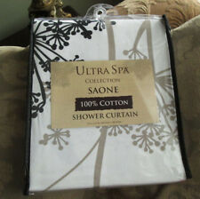 PARK B. SMITH Saone SPA Fabric Shower Curtain COTTON NEW White Black Taupe