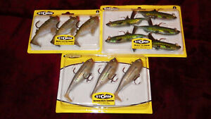 LOT OF 3 STORM WILDEYE PACKS SOFT PLASTIC RIGGED PADDLETAIL BUNKER SARDINE SHAD