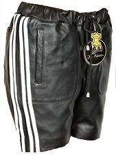 Cuero-short pantalones de deporte de Super Soft real-cuero en negro para hombres