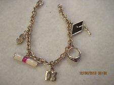 BEAUTIFUL Gold Enamel & Rhinestone 2003 Graduation Charm Bracelet....#6003