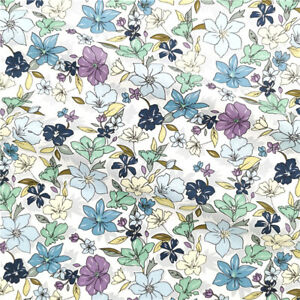 Floral Fabric 100% Cotton Purple Yellow Green Flowers Calico for Home Textiles