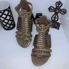BRONZE Brown strappy gladiator sandals Size 8 New In Box NIB Boho Bohemian