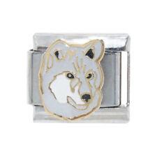 Grey Wolf enamel Italian Charm - fits 9mm classic Italian charm bracelet