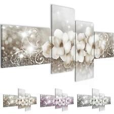 Wandbilder Set 3D Blumen Abstrakt - Wohnzimmer Deko XXL - Bild Modern Kunstdruck
