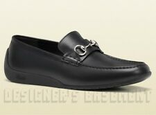 GUCCI mens 11.5G Black palladium Horsebit SILVERSTONE Moccasin shoes NIB Authtic