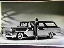"""12 By 18"""" Black & White PICTURE 1958 Chevrolet Station wagon 4 door"""