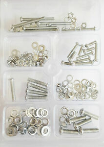 Set of Assorted Zinc coated Full Thread Bolts Nuts, Washers & Spring Washers