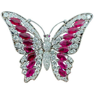 3.80ct Round Diamond 14K Solid White Gold Ruby Gemstone Butterfly Brooch Pin