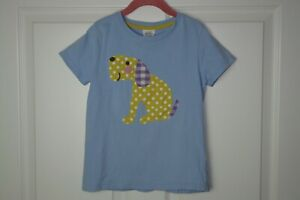 Girl's Mini Boden Light Blue Big Applique T-Shirt Mixed Print Dog Size 7-8