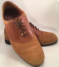 Men's Orvis Leather Suede Saddle Oxfords 9D Sand/Tan Crepe Soles Made in Brazil