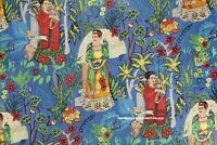 Indian Handmade Pure Cotton Dress Blue Fabric Frida Kahlo Print Fabric 2.5 Yard