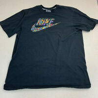 Nike T-shirt Mens XL Spellout Swoosh Geometric Pattern Short Sleeve Casual Black