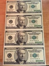 Copy Reproduction 2001 $100,000 Fantasy Uncut US Currency Sheet Paper Money