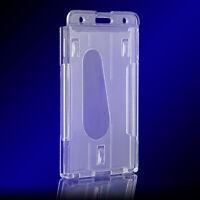 5PCS Vertical Hard Plastic ID Badge Holder Double Card Multi Set Kit Transp W1Z6