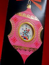 Vintage Christmas Card UNUSED To My Wife Embossed Gold PINK Indent Ornaments