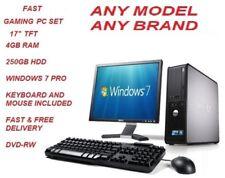 "CHEAP FAST PC SET INTEL CORE2DUO 4GB RAM 250GB HDD 17"" TFT WIN 7 PRO FAST SHIP"