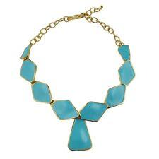 Kenneth Jay Lane Polished Gold Turquoise Diamond Shaped Enamel Bib Necklace KJL