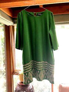 Revival /Dangerfield Green Shift Dress Size 12 EUC