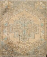 Muted Geometric Authentic Oushak Turkish Area Rug Hand-knotted Square Carpet 2x2