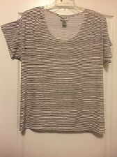 Chico's Sz 16 (3) Gray & White Stripped Short Sleeve Knit Top! Free Shipping!