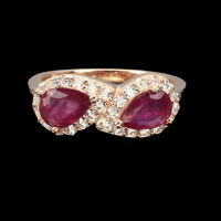 Pear Red Ruby 7x5mm White Cz 14K Rose Gold Plate 925 Sterling Silver Ring
