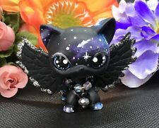 Littlest Pet Shop Cute, Short Hair, Black GALAXY Cat Ooak Custom & Silver Wings