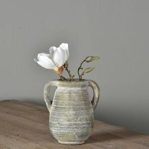 Small Rustic French Urn Vase Planter Jar Handles Stone Greek Whitewashed