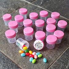 50 Tiny 1tbl #3304 Jars PINK Caps Container Nail Art Makeup Beads Herbs Decojars
