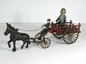 ca1903 LARGE CAST IRON DONKEY DRAWN FOXY GRANDPA FARM / HAY WAGON TOY By WILKINS