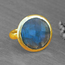 AAA Blue Fire Faceted Labradorite Gemstone 14K Yellow Gold Gift Ring Size 7