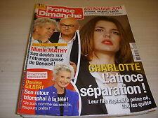 FRANCE DIMANCHE 3514 01.2014 Michael SCHUMACHER Charlotte de MONACO Mimie MATHY