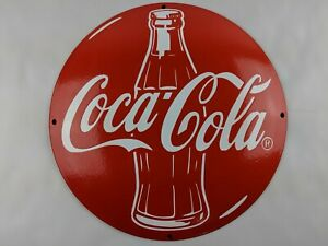 "VINTAGE COCA COLA GENERAL STORE CONCAVE 11.80"" RED PORCELAIN METAL SIGN PUMP"