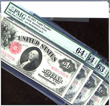 1917, $1 Fr 39 Large Size Legal 4 consecutive notes Pmg 64,64,63,55 Epq