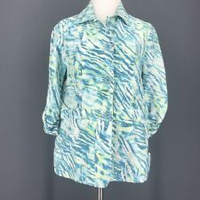 CHICO'S Jacket 0 XS S Blue Green Zebra Print Linen Blend Roll Up Sleeves