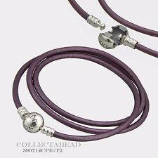 Authentic Pandora Silver Large Intuition Purple Leather Bracelet 590714CPE-T3