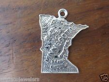 Vintage silver MINNESOTA STATE MAP MINNEAPOLIS ST. PAUL charm FORT CO.