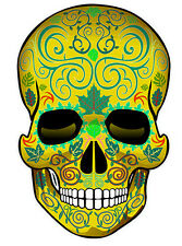 "SUGAR SKULL Dia de los Muertos Day of the Dead All Soul's 2"" 4 pack STICKER-gold"