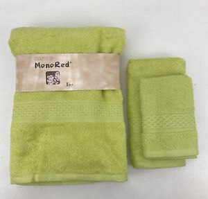 3 Piece MonoRed Japanese Bath Towel Set Lime Green 100% Cotton New With Tags