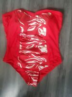 Womens Swimming Costume size 20 red white rouched waist summer holiday vgc