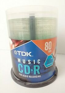 TDK Music 100 Pack 80 min Blank Recordable Audio CD-R Writable Surface Open Box