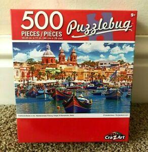 "Puzzlebug 500 ""FISHING VILLAGE OF MARSAXLOKK, MALTA"" (18.25 X 11) NEW PUZZLE!"