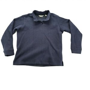 Orvis Sporting Traditions Navy Blue Sweater Long Sleeve Pullover Zip Mock Neco L