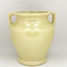 "Vtg MCM Art Deco McCoy Pottery Yellow Glazed Two Handled Vase Jar USA 6""H 5""W"