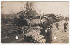 Rare TRAIN ACCIDENT RPPC Real Photo Postcard RAILROAD Wreck CRASH RR Trains
